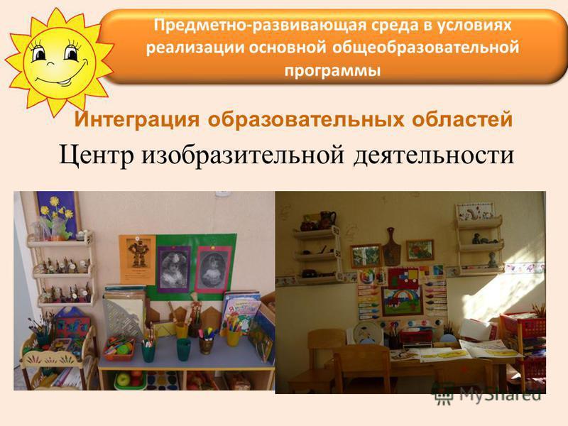 Центр изобразительной деятельности Предметно-развивающая среда в условиях реализации основной общеобразовательной программы Интеграция образовательных областей