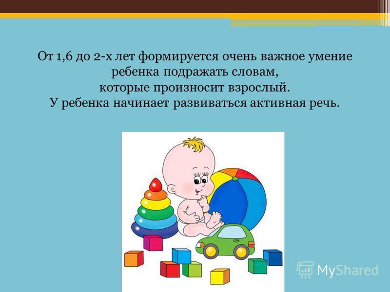 От 1,6 до 2-х лет формируется очень важное умение ребенка подражать словам, которые произносит взрослый. У ребенка начинает развиваться активная речь.