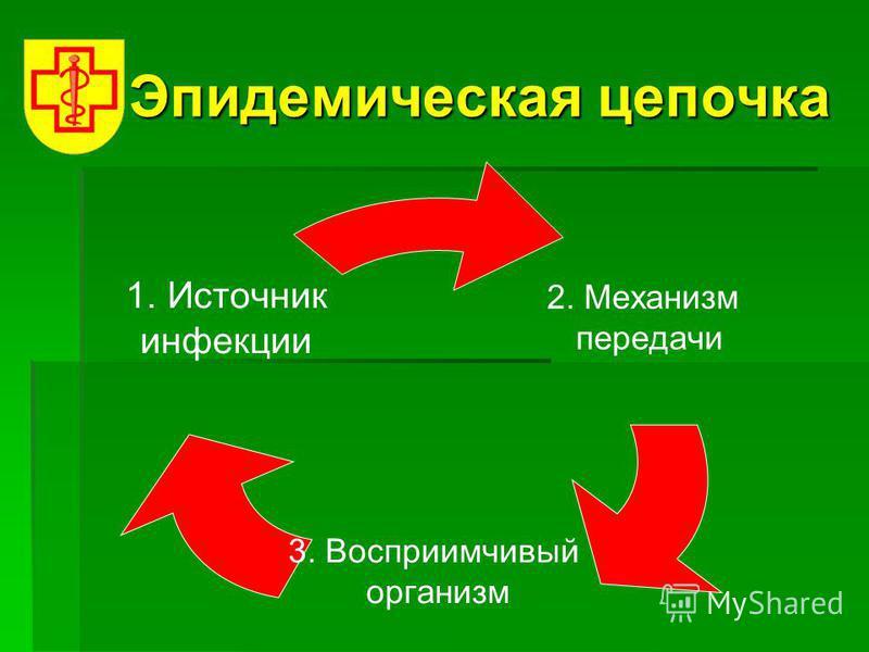 Эпидемическая цепочка 2. Механизм передачи 3. Восприимчивый организм 1. Источник инфекции