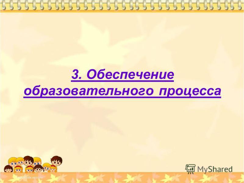 3. Обеспечение образовательного процесса