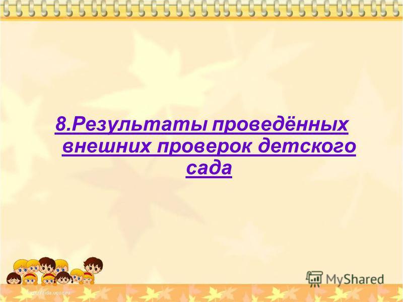 8. Результаты проведённых внешних проверок детского сада