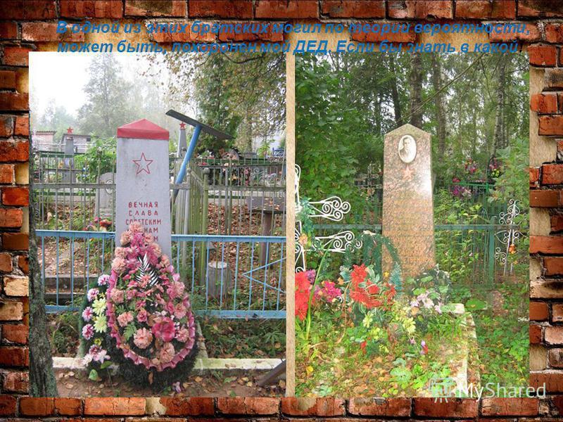 В одной из этих братских могил по теории вероятности, может быть, похоронен мой ДЕД. Если бы знать в какой!