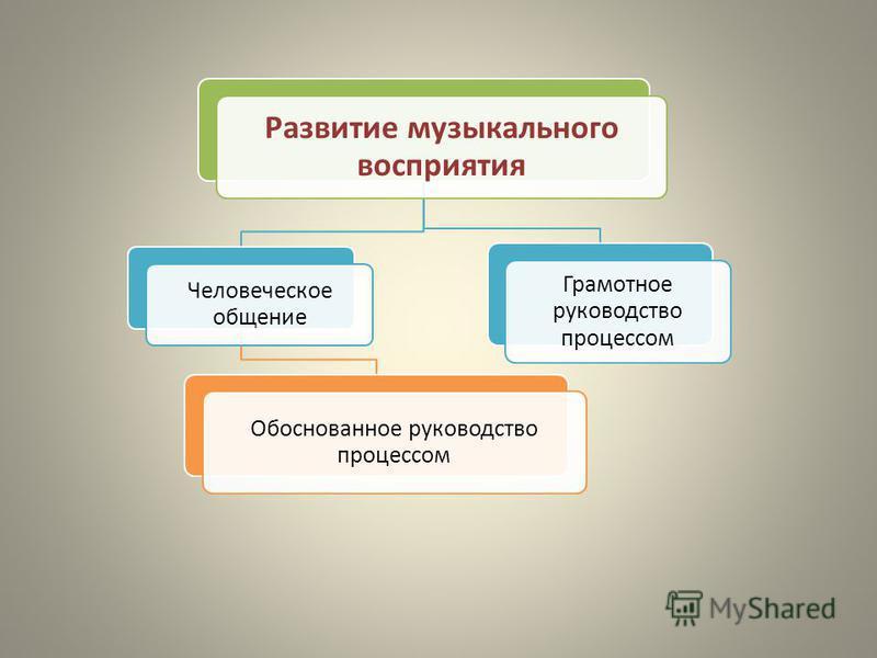 Развитие музыкального восприятия Человеческое общение Обоснованное руководство процессом Грамотное руководство процессом