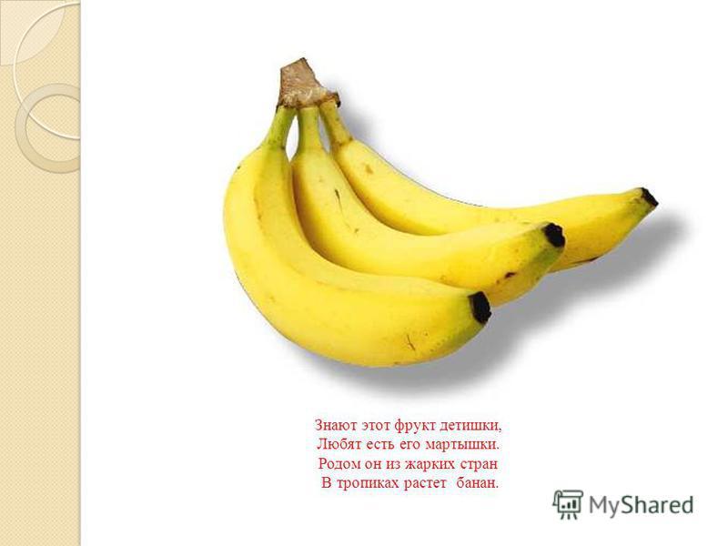 Знают этот фрукт детишки, Любят есть его мартышки. Родом он из жарких стран В тропиках растет банан.
