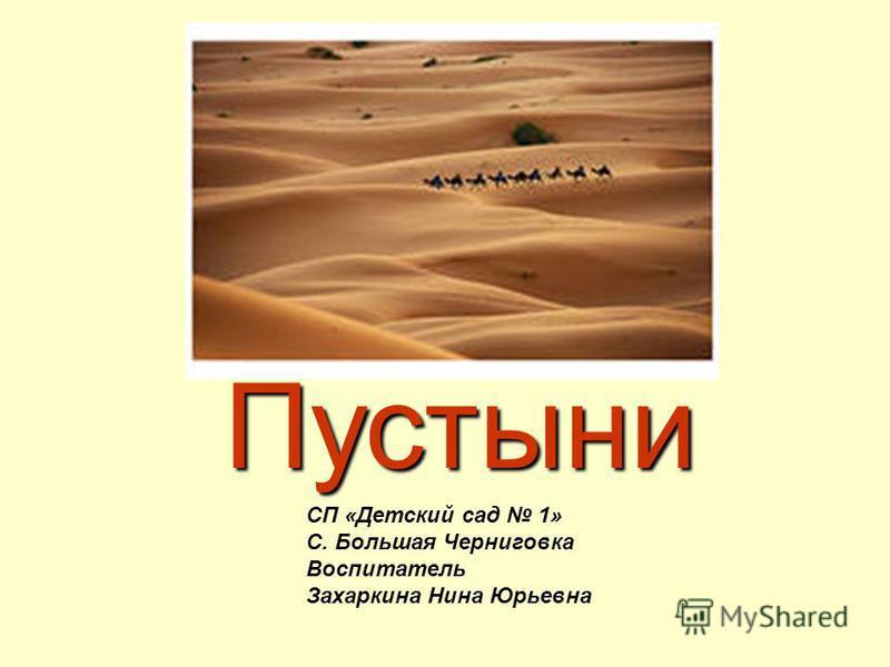 Пустыни СП «Детский сад 1» С. Большая Черниговка Воспитатель Захаркина Нина Юрьевна