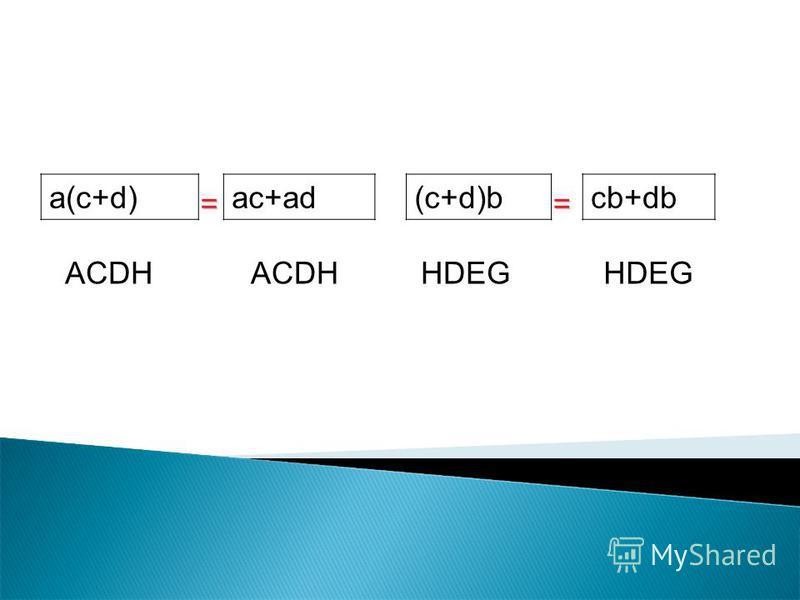 a(c+d) ac+ad(c+d)bcb+db ACDH HDEG ==