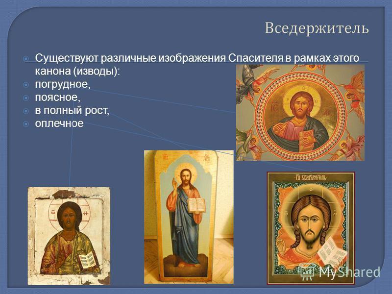 Вседержитель Существуют различные изображения Спасителя в рамках этого канона (изводы): погрудное, поясное, в полный рост, оплечное