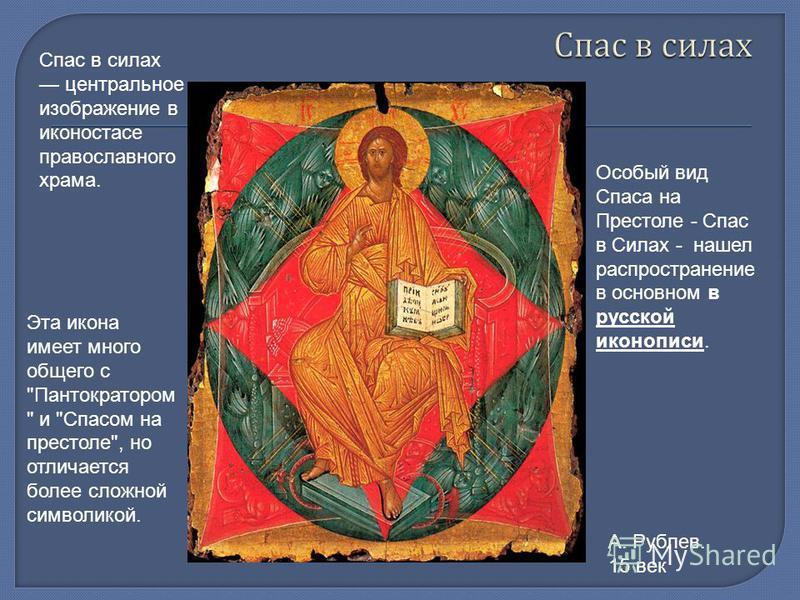 Спас в силах центральное изображение в иконостасе православного храма. Эта икона имеет много общего с