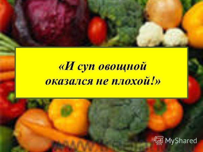 «И суп овощной оказался не плохой!»