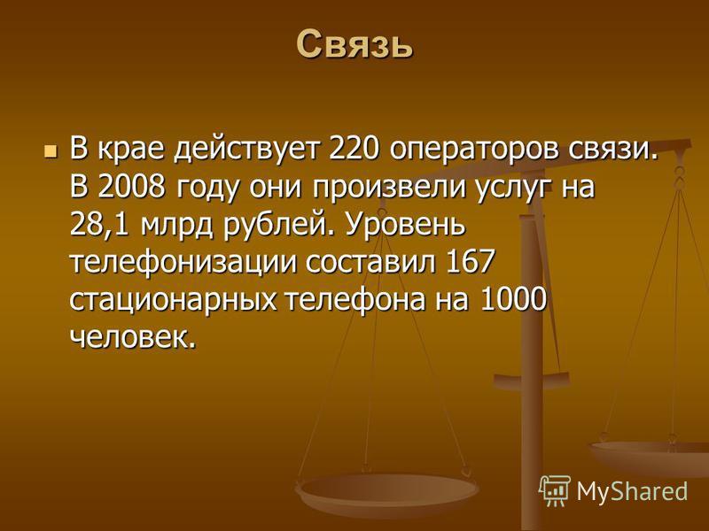 Связь В крае действует 220 операторов связи. В 2008 году они произвели услуг на 28,1 млрд рублей. Уровень телефонизации составил 167 стационарных телефона на 1000 человек. В крае действует 220 операторов связи. В 2008 году они произвели услуг на 28,1