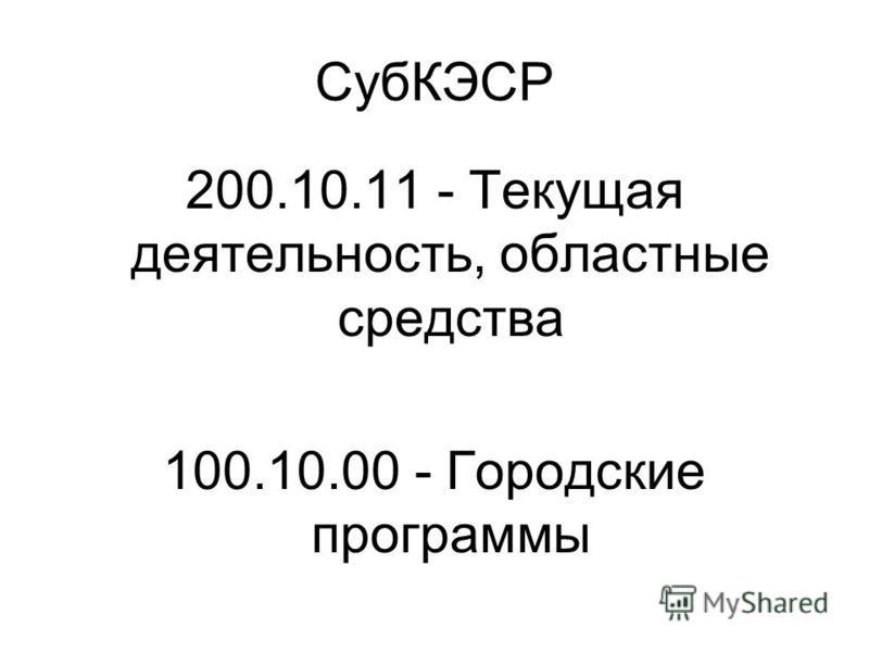 СубКЭСР 200.10.11 - Текущая деятельность, областные средства 100.10.00 - Городские программы
