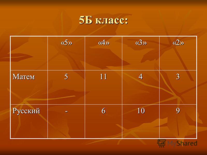 5Б класс: «5»«4»«3»«2» Матем 51143 Русский-6109