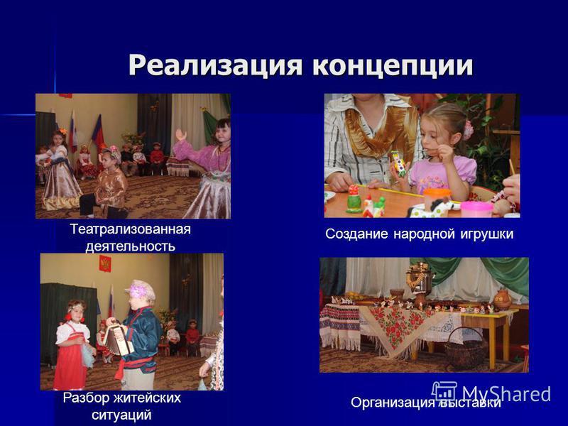 Реализация концепции Театрализованная деятельность Разбор житейских ситуаций Создание народной игрушки Организация выставки