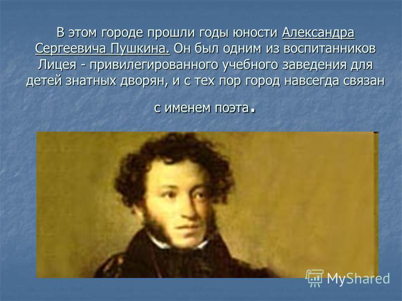 В этом городе прошли годы юности Александра Сергеевича Пушкина. Он был одним из воспитанников Лицея - привилегированного учебного заведения для детей знатных дворян, и с тех пор город навсегда связан с именем поэта.
