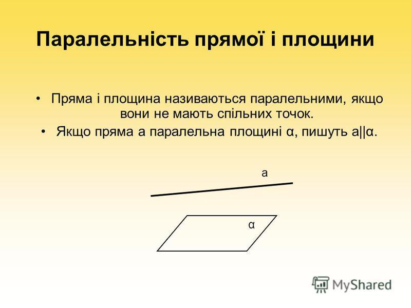 Паралельність прямої і площини Пряма і площина називаються паралельними, якщо вони не мають спільних точок. Якщо пряма а паралельна площині α, пишуть а||α. а α