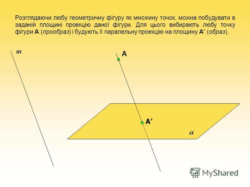 Розглядаючи любу геометричну фігуру як множину точок, можна побудувати в заданій площині проекцію даної фігури. Для цього вибирають любу точку фігури A (прообраз) і будують її паралельну проекцію на площину A (образ). А А m