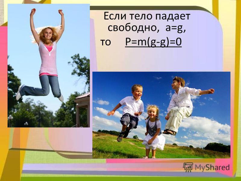 F тяж 0 m0 Если тело падает свободно, a=g, то P=m(g-g)=0