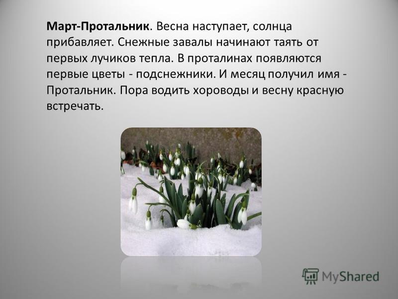 Март-Протальник. Весна наступает, солнца прибавляет. Снежные завалы начинают таять от первых лучиков тепла. В проталинах появляются первые цветы - подснежники. И месяц получил имя - Протальник. Пора водить хороводы и весну красную встречать. Апрель-С