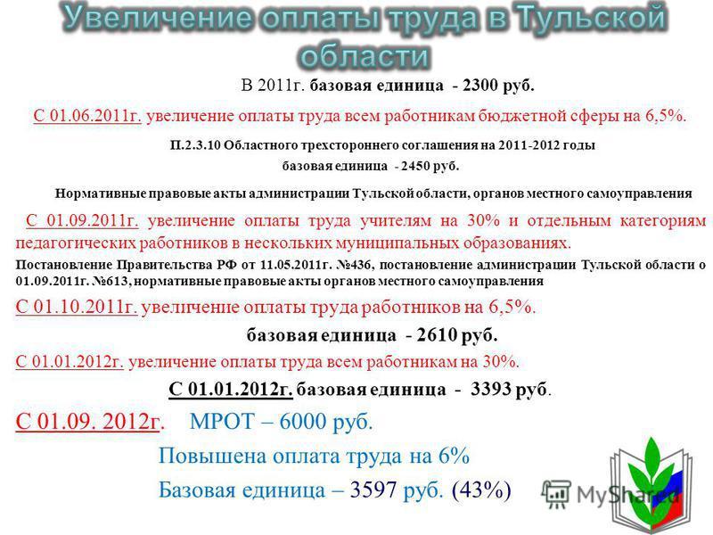 В 2011 г. базовая единица - 2300 руб. С 01.06.2011 г. увеличение оплаты труда всем работникам бюджетной сферы на 6,5%. П.2.3.10 Областного трехстороннего соглашения на 2011-2012 годы базовая единица - 2450 руб. Нормативные правовые акты администрации