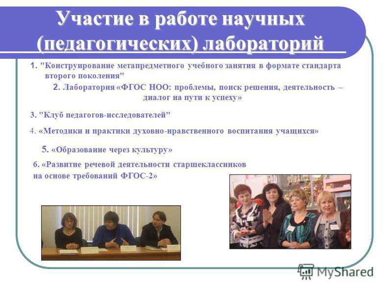 Участие в работе научных (педагогических) лабораторий 1.