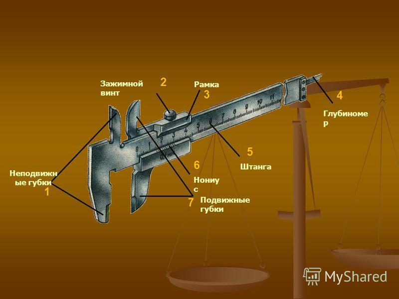 На рисунке показан штангенциркуль ШЦ-1. На рисунке показан штангенциркуль ШЦ-1. Он состоит из штанги с неподвижными губками 1 и 2, по которой перемещается рамка 4 с подвижными губками 3 и 8. Рамку можно закреплять в нужном положении стопорным винтом.