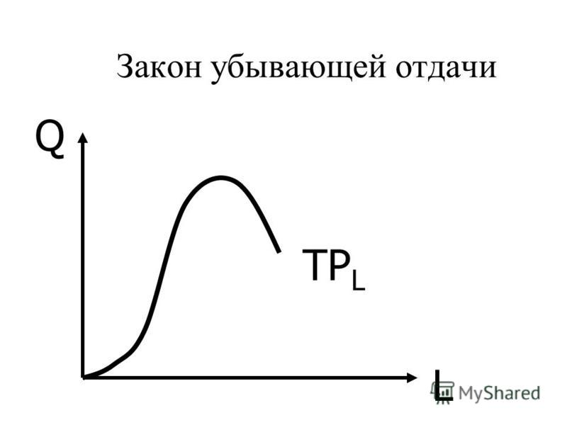 Закон убывающей отдачи L Q TP L