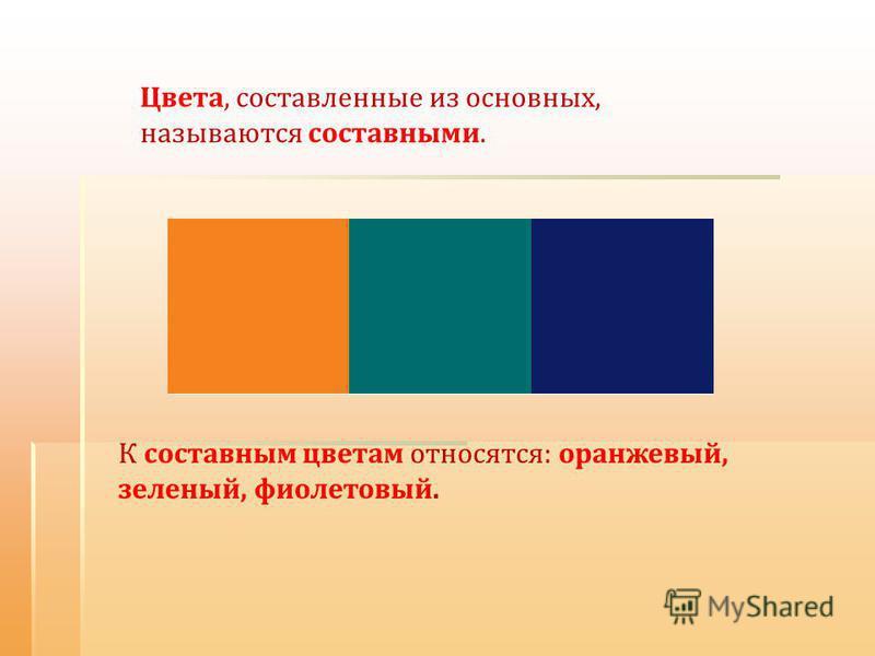 Цвета, составленные из основных, называются составными. К составным цветам относятся: оранжевый, зеленый, фиолетовый.