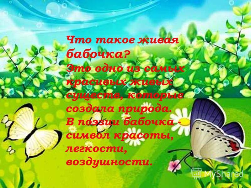 Что такое живая бабочка ? Это одно из самых красивых живых существ, которые создала природа. В поэзии бабочка - символ красоты, легкости, воздушности.