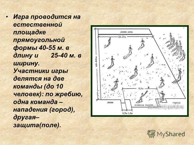 Игра проводится на естественной площадке прямоугольной формы 40-55 м. в длину и 25-40 м. в ширину. Участники игры делятся на две команды (до 10 человек): по жребию, одна команда – нападения (город), другая– защита(поле).