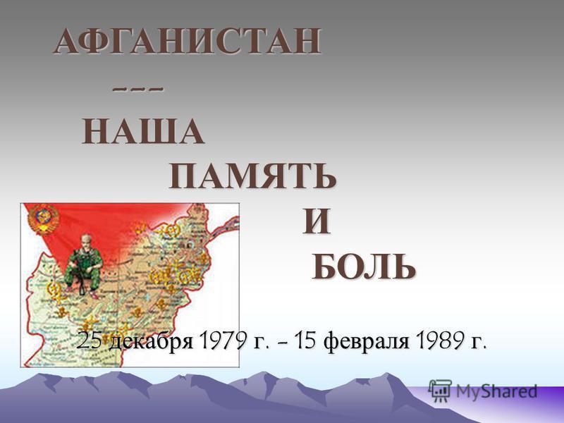 АФГАНИСТАН --- НАША НАША ПАМЯТЬ И БОЛЬ ПАМЯТЬ И БОЛЬ 25 декабря 1979 г. - 15 февраля 1989 г.