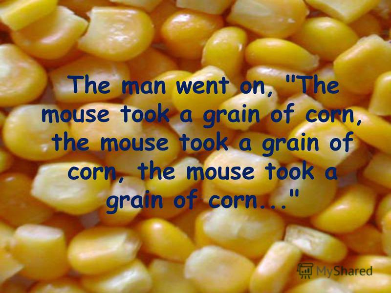 The man went on, The mouse took a grain of corn, the mouse took a grain of corn, the mouse took a grain of corn...