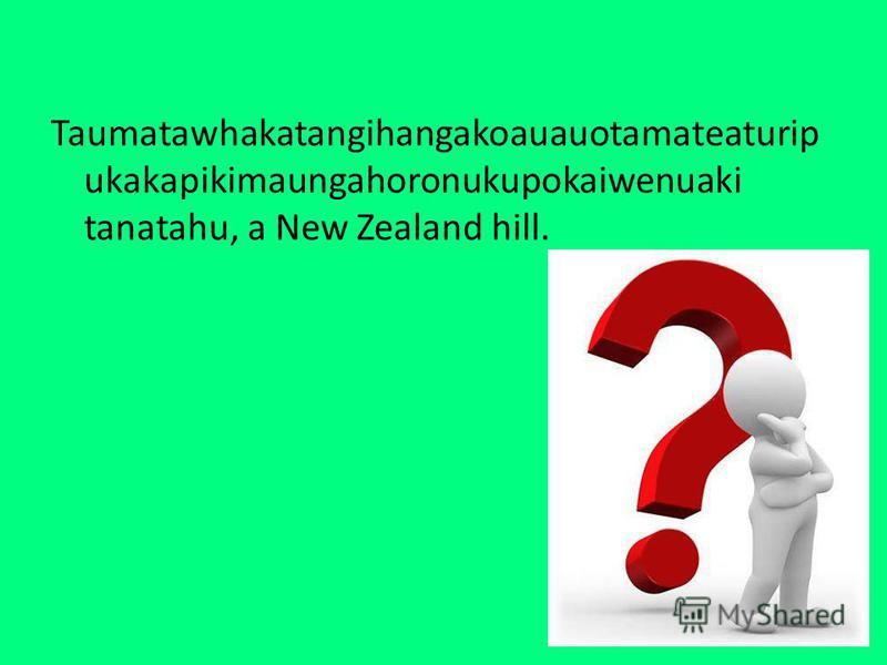 Taumatawhakatangihangakoauauotamateaturip ukakapikimaungahoronukupokaiwenuaki tanatahu, a New Zealand hill.