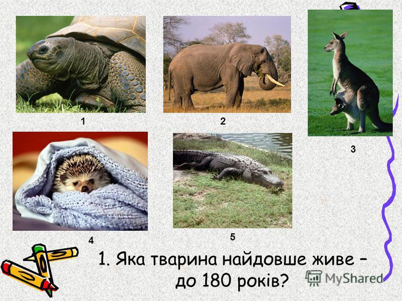 1. Яка тварина найдовше живе – до 180 років? 12 3 4 5
