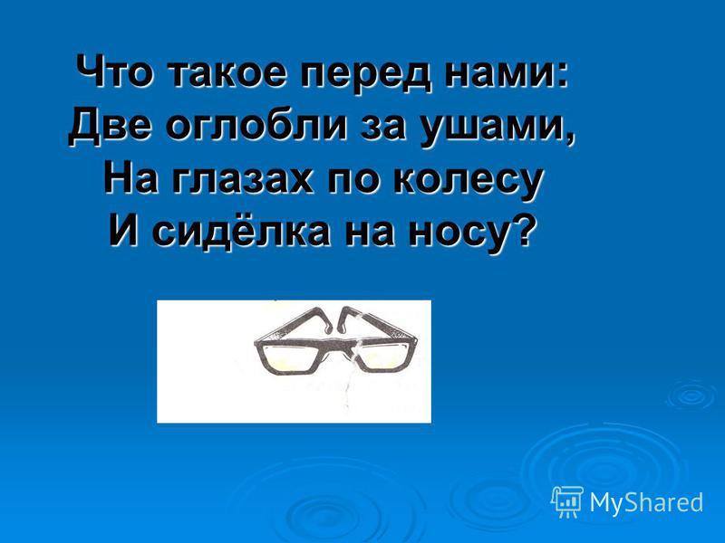 Что такое перед нами: Две оглобли за ушами, На глазах по колесу И сидёлка на носу?