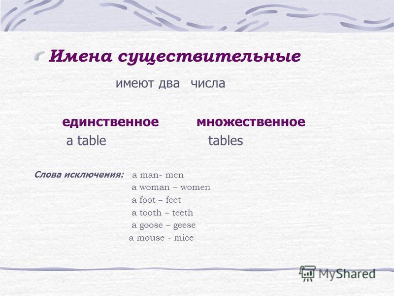 Имена существительные имеют два числа единственное множественное а table tables Cлова исключения: a man- men a woman – women a foot – feet a tooth – teeth a goose – geese a mouse - mice