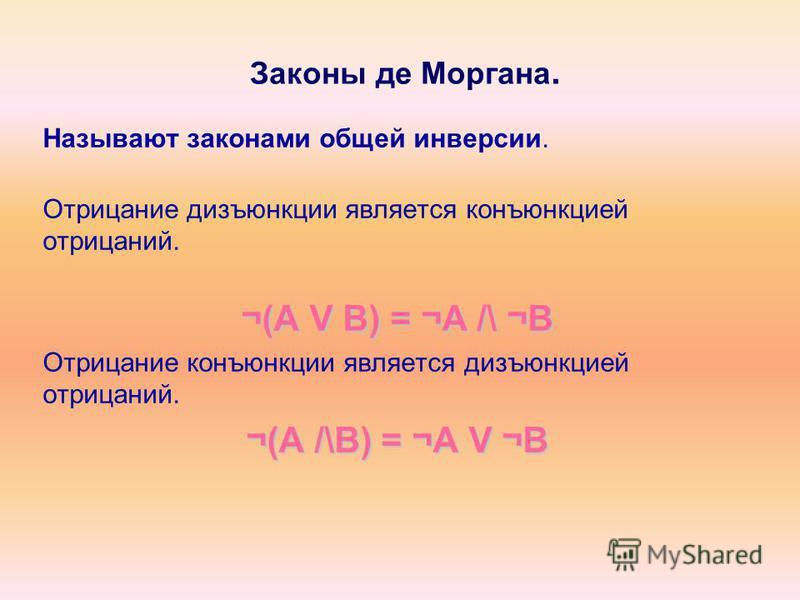 Законы де Моргана. Называют законами общей инверсии. Отрицание дизъюнкции является конъюнкцией отрицаний. ¬(A V B) = ¬A /\ ¬B Отрицание конъюнкции является дизъюнкцией отрицаний. ¬(A /\B) = ¬A V ¬B