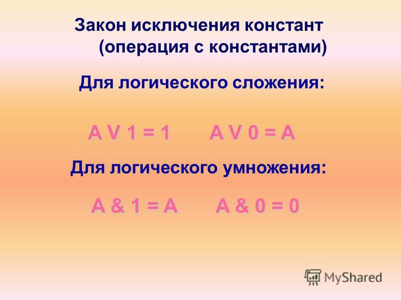Закон исключения констант (операция с константами) Для логического сложения: A V 1 = 1 A V 0 = A A & 1 = A A & 0 = 0 A & 1 = A A & 0 = 0 Для логического умножения: