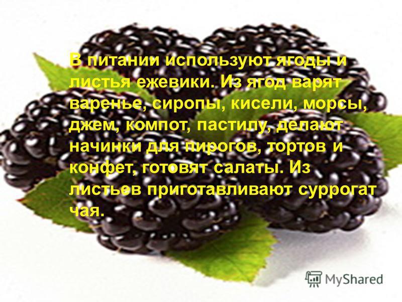 В питании используют ягоды и листья ежевики. Из ягод варят варенье, сиропы, кисели, морсы, джем, компот, пастилу, делают начинки для пирогов, тортов и конфет, готовят салаты. Из листьев приготавливают суррогат чая.