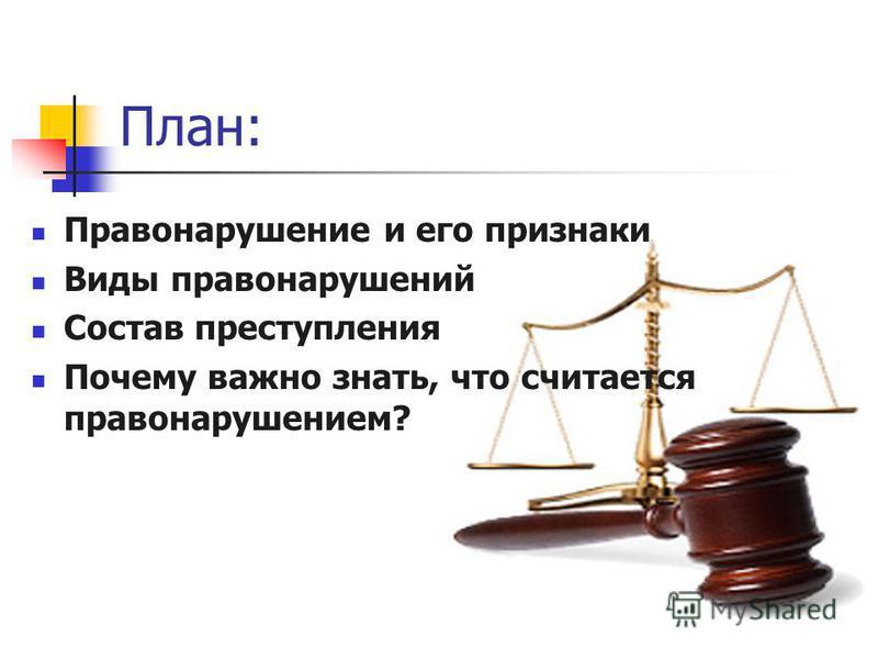 План: Правонарушение и его признаки Виды правонарушений Состав преступления Почему важно знать, что считается правонарушением?