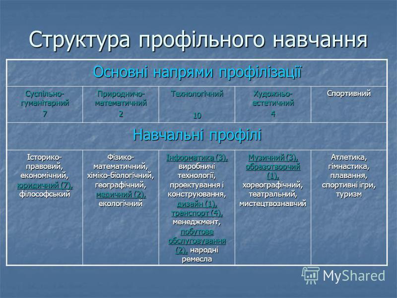 Структура профільного навчання Основні напрями профілізації Суспільно- гуманітарний 7 Природничо- математичний 2Технологічний10 Художньо- естетичний 4Спортивний Навчальні профілі Історико- правовий, економічний, юридичний (7), філософський Фізико- ма