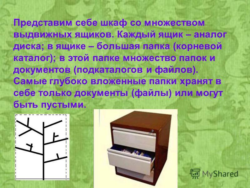 Представим себе шкаф со множеством выдвижных ящиков. Каждый ящик – аналог диска; в ящике – большая папка (корневой каталог); в этой папке множество папок и документов (подкаталогов и файлов). Самые глубоко вложенные папки хранят в себе только докумен