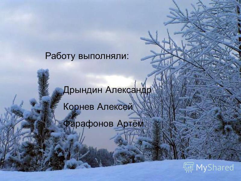 Работу выполняли: Дрындин Александр Корнев Алексей Фарафонов Артём.