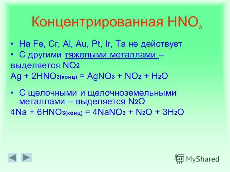 Взаимодействие с металлами В таких реакциях водород, как правило, не выделяется: он окисляется, образуя воду. Кислота, в зависимости от концентрации и активности металла, может восстанавливаться до соединений: NO 2 HNO 2 N 2 O N 2 NH 3 (NH 4 NO 3 )
