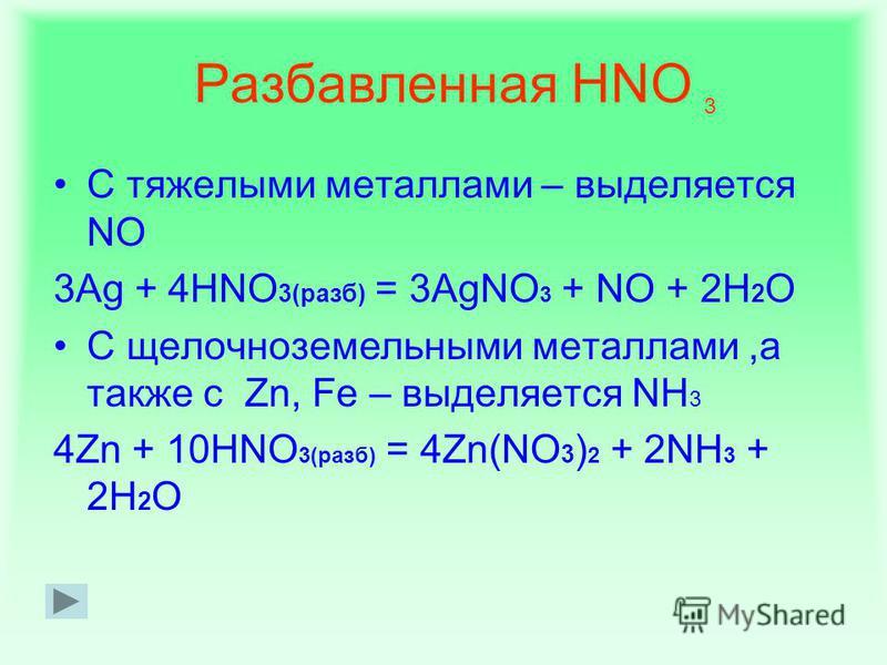 Концентрированная HNO На Fe, Cr, Al, Au, Pt, Ir, Ta не действует С другими тяжелыми металлами –тяжелыми металлами выделяется NO 2 Ag + 2HNO 3(конц) = AgNO 3 + NO 2 + H 2 O С щелочными и щелочноземельными металлами – выделяется N 2 O 4Na + 6HNO 3(конц