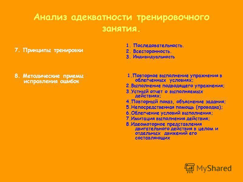 Анализ адекватности ттренировочного занятия. 7. Принципы тренировки 8. Методические приемы исправления ошибок 1. Последовательность. 2. Всесторонность. 3. Индивидуальность 1. Повторное выполнение упражнения в облегченных условиях; 2. Выполнение подво