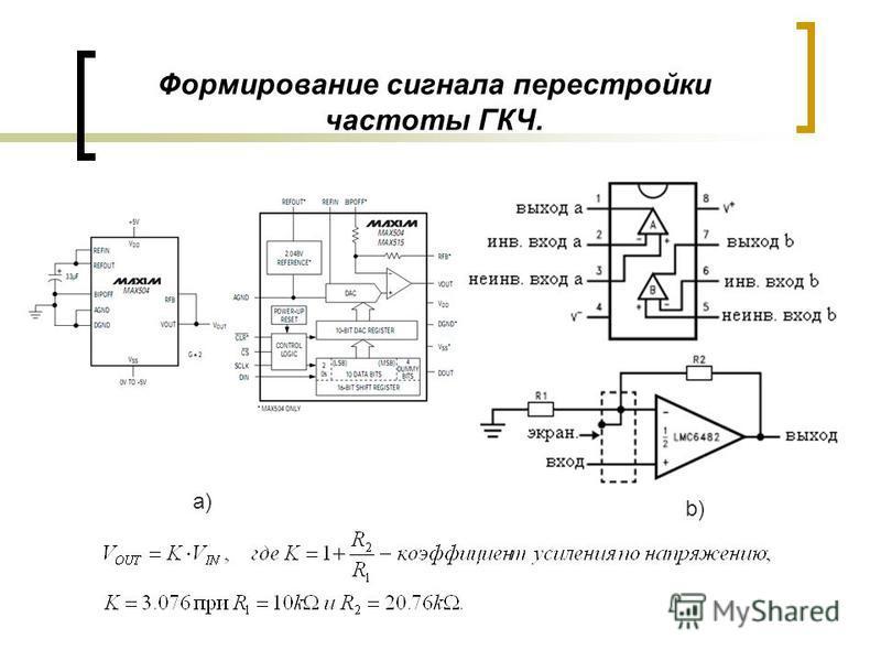 Формирование сигнала перестройки частоты ГКЧ. а) b)
