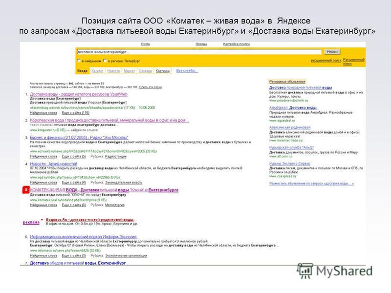Позиция сайта ООО «Коматек – живая вода» в Яндексе по запросам «Доставка питьевой воды Екатеринбург» и «Доставка воды Екатеринбург»