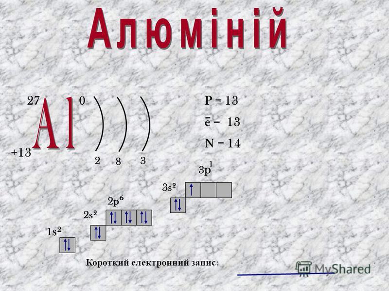 Періодична с истема х імічних е лементів Д. І. Менделєєва Періоди 1 2 3 4 5 6 7 Ряди 1 2 3 4 10 9 8 7 5 6 Групи елементів IIIVIVVIIIIIIVVIII Характеристика 1. Вперше добуто в 1825 році Гансом Ерстедом. 2. У Періодичній системі знаходиться в 3 періоді