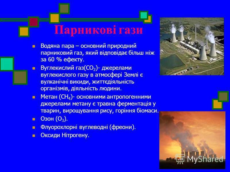 Парникові гази Водяна пара – основний природний парниковий газ, який відповідає більш ніж за 60 % ефекту. Вуглекислий газ(CO 2 )- джерелами вуглекислого газу в атмосфері Землі є вулканічні викиди, життєдіяльність організмів, діяльність людини. Метан