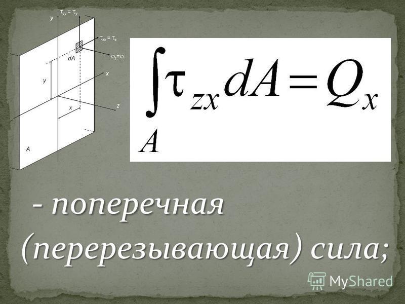 - поперечная (перерезывающая) сила; - поперечная (перерезывающая) сила;